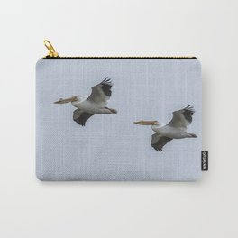 Pair of American White Pelicans in Flight Carry-All Pouch