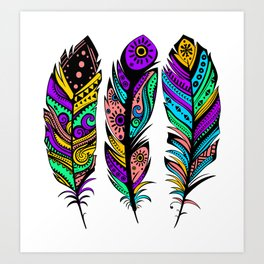 Colorful Abstract  Tribal Feathers Illustration Art Print