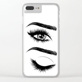 Eyes with long eyelashes and brows Clear iPhone Case