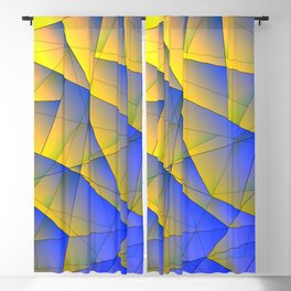 Bright fragments of crystals on irregularly shaped yellow and blue triangles. Blackout Curtain