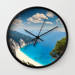The famous beach Myrtos in Kefalonia island, Greece Wall Clock