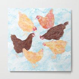A Gaggle of Hens Metal Print