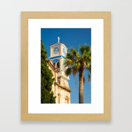 Greece - Orthodox Greek Church with Palm Tree Framed Art Print