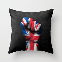 Union Jack Flag of The United Kingdom on a Raised Clenched Fist Throw Pillow