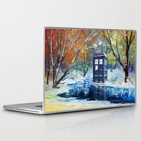 fandom Laptop & iPad Skins featuring Starry Winter blue phone box Digital Art iPhone 4 4s 5 5c 6, pillow case, mugs and tshirt by Three Second