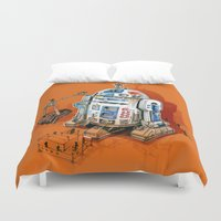 soviet Duvet Covers featuring 1st in space by pakowacz