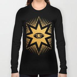 Golden All Seeing Eye Masonic Symbol Long Sleeve T-shirt