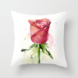 Rose Watercolor Red Flower Painting Floral Flowers Throw Pillow