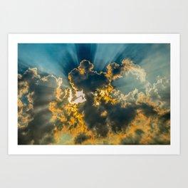 Sun Coming Through the Clouds Art Print