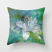 lily Throw Pillows featuring Lily by Saundra Myles