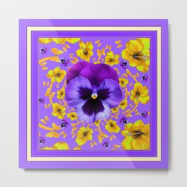 LILAC PANSIES YELLOW BUTTERFLIES & FLOWERS Metal Print