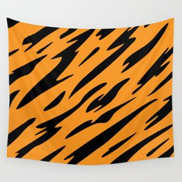 Bold and Beautiful Black and Orange Abstract Tiger Striped Pattern Wall Tapestry