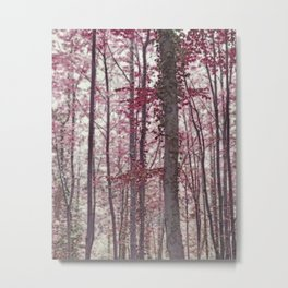 Ethereal Austrian Forest in Burgundy Metal Print