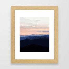Pastel Sunset Over the Mountains Framed Art Print