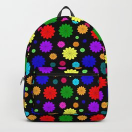 Black background with bright colors. Bright background for fabric or paper design of flowers Backpack