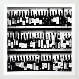 Wine Bottles in Black And White #decor #society6 #buyart Art Print
