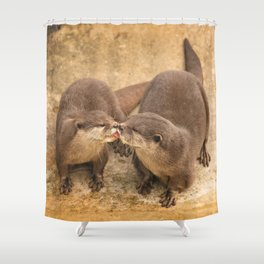 Kissing Otters Shower Curtain