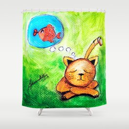 Yellow Cat dreaming  Shower Curtain