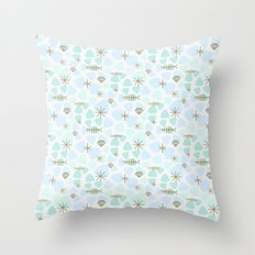Mod fish mobile Throw Pillow