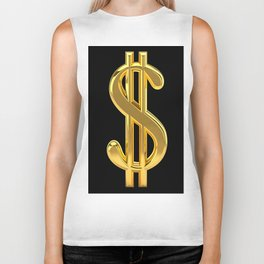 Gold Dollar Sign Black Background Biker Tank