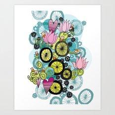 Bicycle Birds Art Print