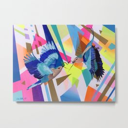 Geo Fly Birds Metal Print