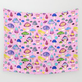 Watercolor Mushroom Pattern on Pink Wall Tapestry