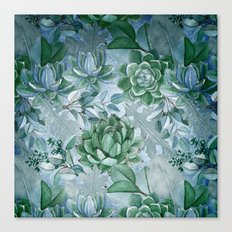 Painterly blue teal cactus pattern Canvas Print