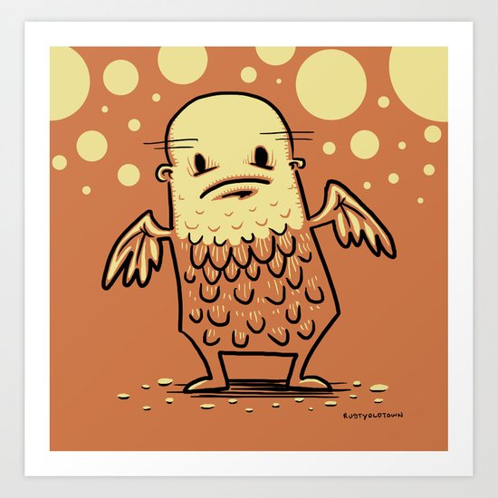 Bald Angel Art Print