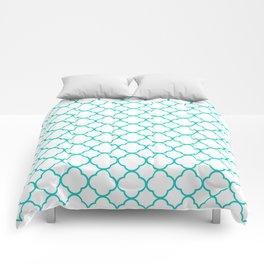 Aqua Blue Quatrefoil Clover Pattern Comforters