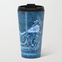 Blue motorcycle Travel Mug