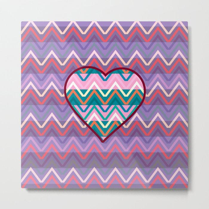 Heart chevron Metal Print