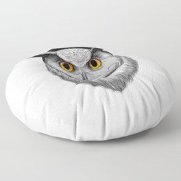 bearded owl Floor Pillow