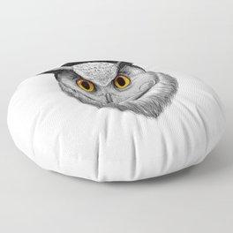 bearded owl Floor Pillow