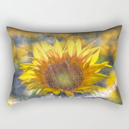Sunflower with Lens Flare of the Suns Rays Rectangular Pillow