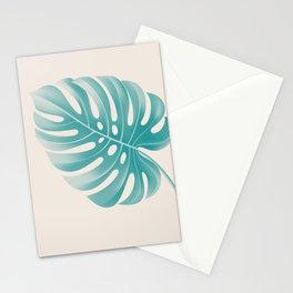 Monstera Tropical Deep Peacock Blue and Gardenia Stationery Cards