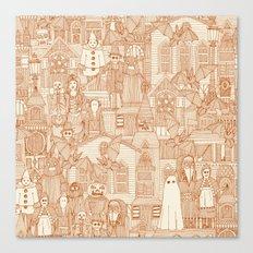 vintage halloween rust ivory Canvas Print
