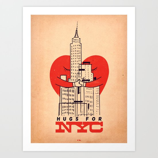 Hugs For NYC Art Print