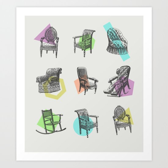 Old Chairs Art Print