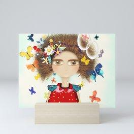 Doll Butterfly Balloons Afro Hair Flowers Mini Art Print