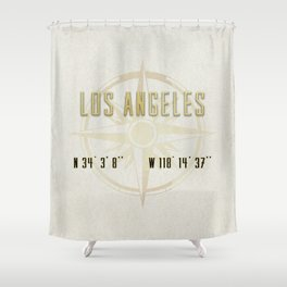 Los Angeles - Vintage Map and Location Shower Curtain