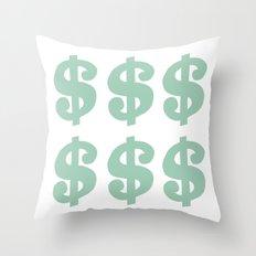 Mint Dollars Throw Pillow