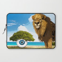 surreal sea scape with lion and tree eye Laptop Sleeve