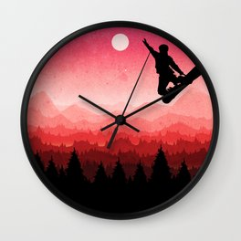 Snowboard Skyline I Wall Clock
