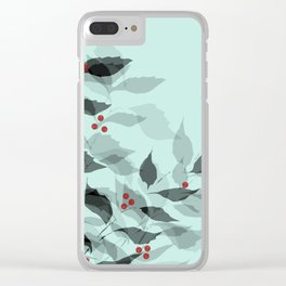 Leaves with Christmas Berries Clear iPhone Case