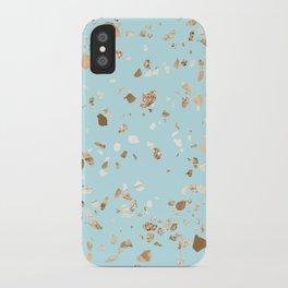 Blue Gold Modern Terrazzo iPhone Case
