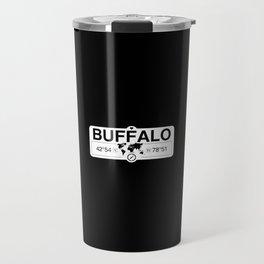 Buffalo New York GPS Coordinates Map Artwork with Compass Travel Mug