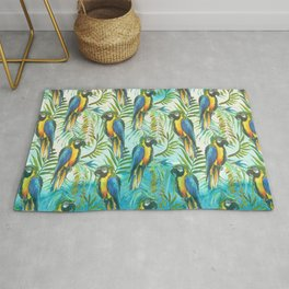 Watercolor blue yellow tropical parrot bird floral Rug