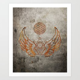 Angel Wings Metatron Flower of Life T-shirt Art Print