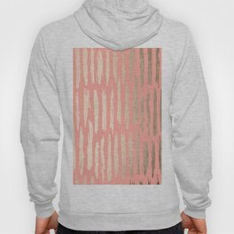 Vertical Dash Tahitian Gold on Coral Pink Stripes Hoody